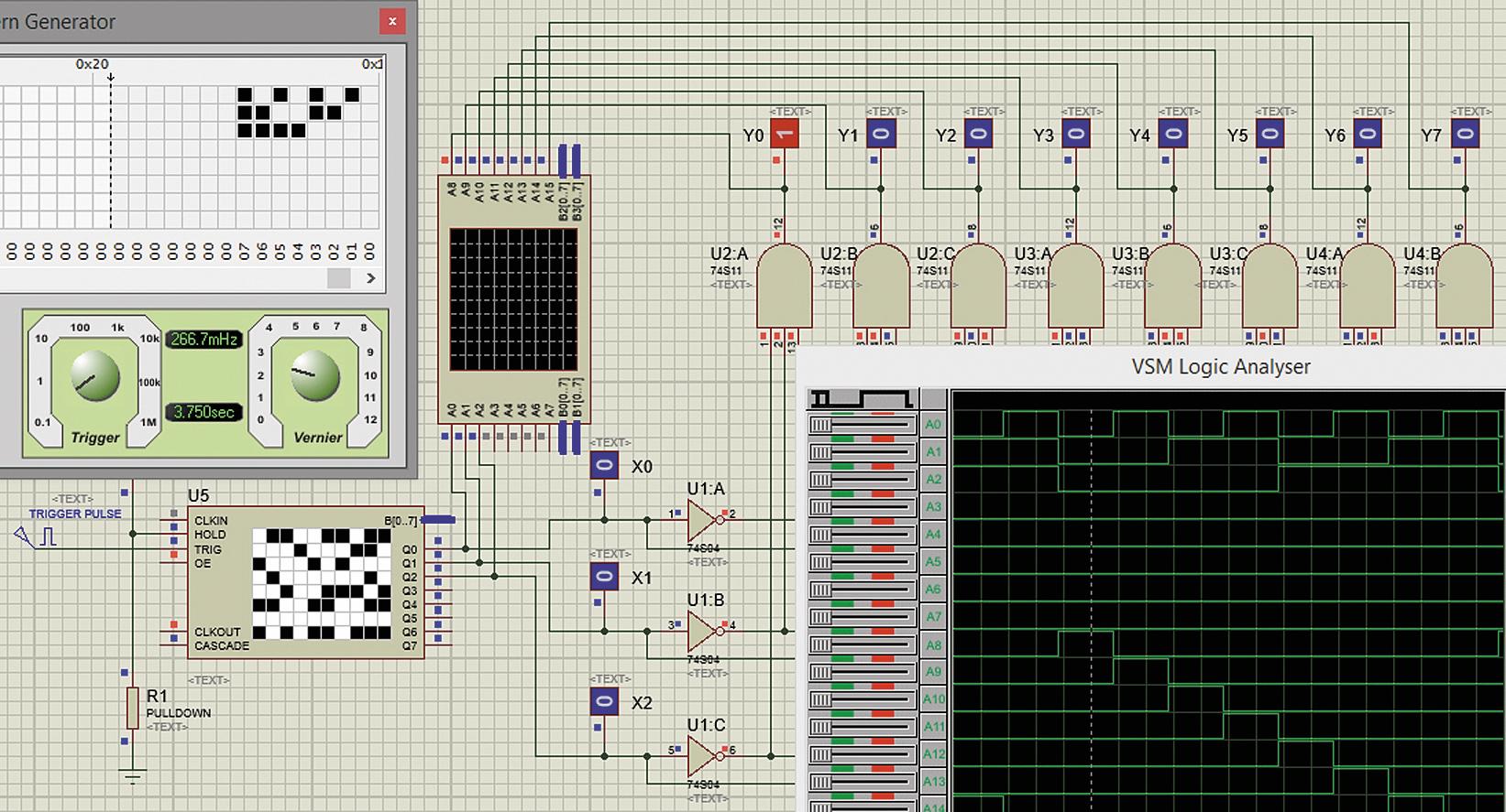 Проверка работы спроектированного дешифратора трехразрядного двоичного кода с помощью логического анализатора
