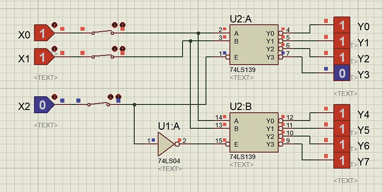 Тестирование работы трехвходового дешифратора, построенного на основе двухвходовых секций: а) схема дешифратора до запуска симуляции; б) моделирование работы дешифратора — коду 110 на входах дешифратора х0, х1, х2 соответствует 0 на его выходе y3; в) моделирование работы дешифратора — коду 001 на входах дешифратора х0, х1, х2 соответствует 0 на выходе y4