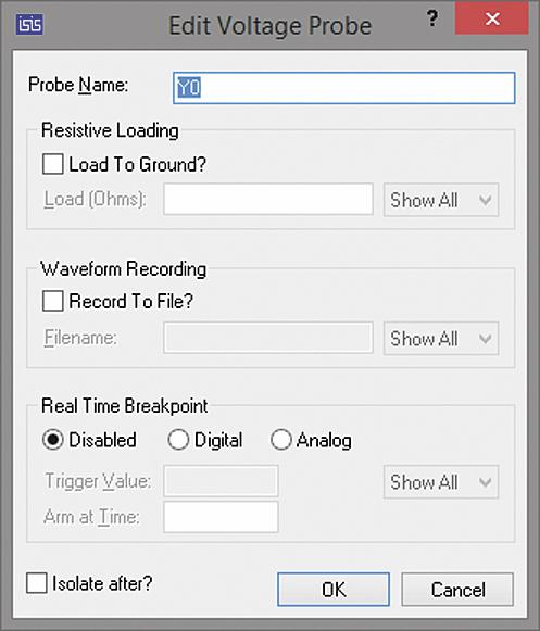 Окно Edit Voltage Probe