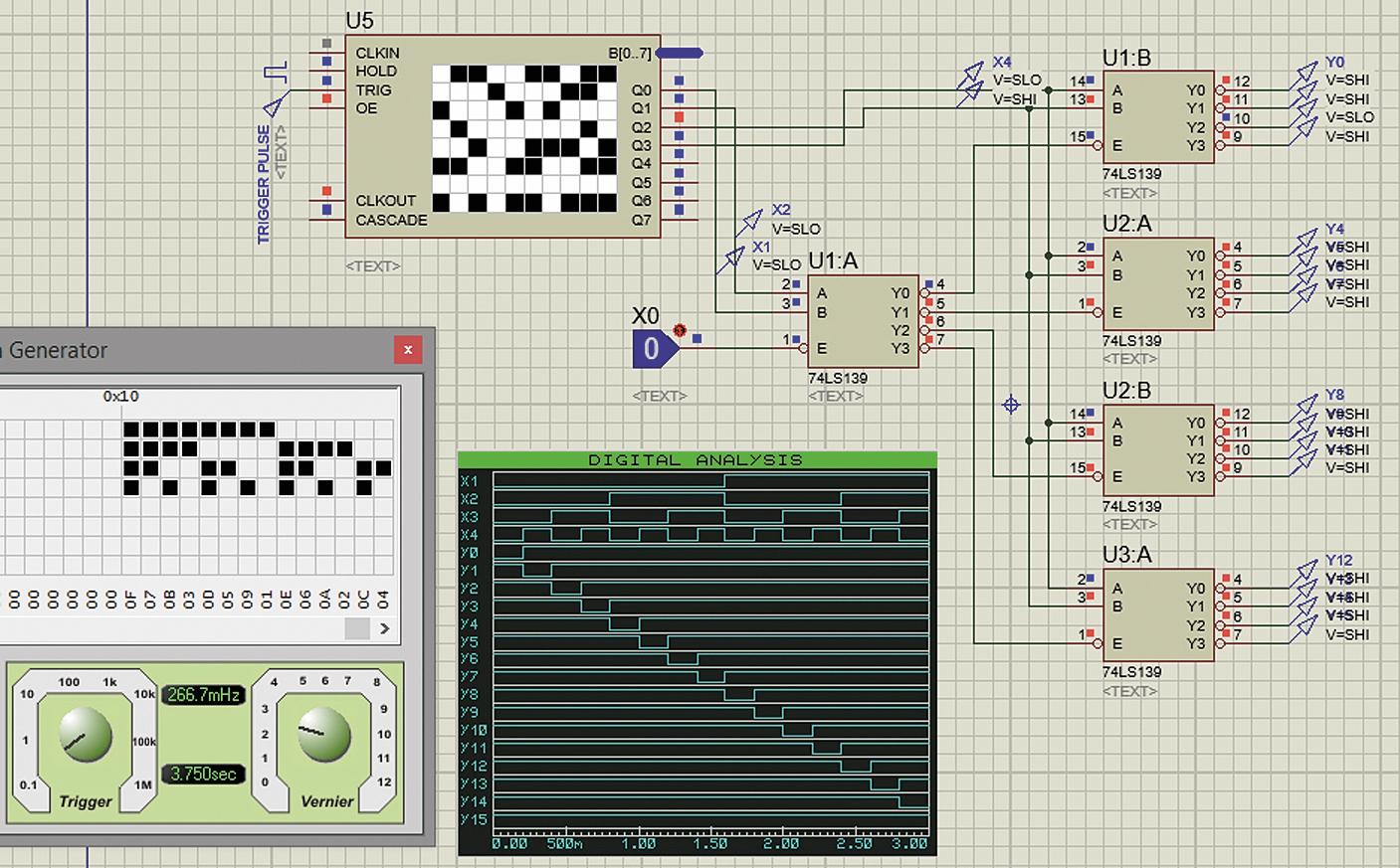 Тестирование работы четырехвходового дешифратора, построенного на основе двухвходовых секций