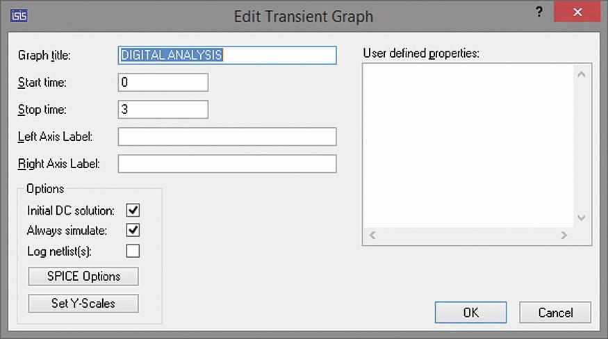 Окно настройки параметров графика DIGITAL ANALYSIS