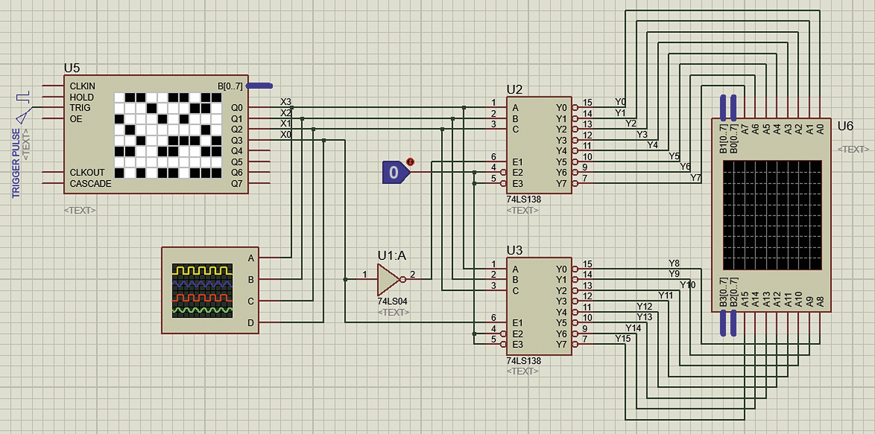 Построение четырехвходового дешифратора на 16 выходов на базе микросхем 74LS138