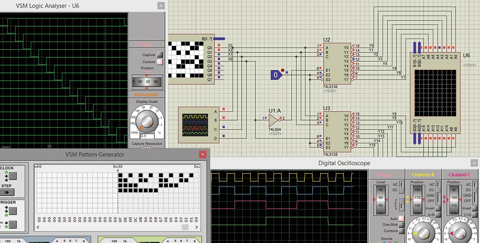 Тестирование схемы четырехвходового дешифратора на 16 выходов, разработанного на базе микросхем 74LS138
