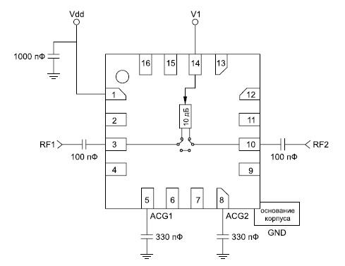Принципиальная схема включения 1-битового цифрового аттенюатора