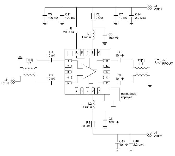 Пример построения усилителя на микросхеме HMC770LP4BE