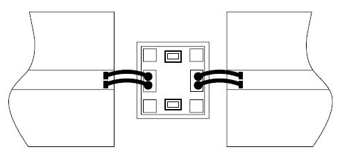 Включение микросхемы аттенюатора между двумя линиями передачи