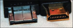 Рис. 16. Разъемы интерфейсов HDMI (справа) и UDI (слева )