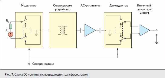 Схема DC-усилителя с повышающим трансформатором