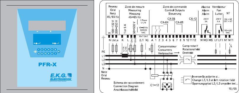 Рис. 1. Конструктивное исполнение и принципиальная схема регулятора PFR-X