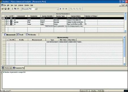 Окно Sweep Parameters