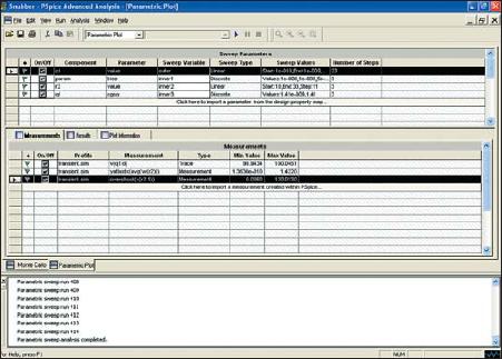 Диалоговое окно анализа Parametric Plotter в позиции Measurements