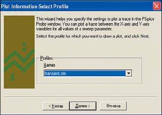 Выбор профайла моделирования в окне Plot Wizard