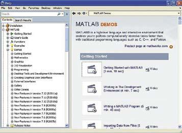 Окно демонстрационных примеров MATLAB R2011a