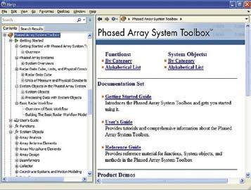 Окно справки по пакету расширения Phased Array System Toolbox