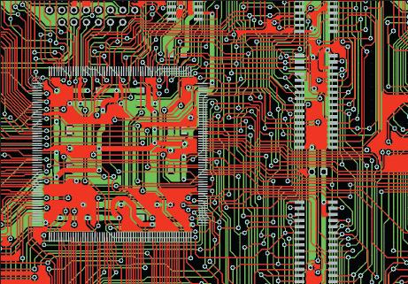 Рис. 1. Фрагмент двухсторонней печатной платы с применением автоматической трассировки