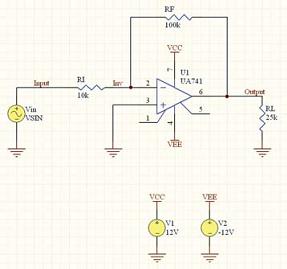 Рис. 8. Моделируемая схема с использованием операционного усилителя в Protel DXP