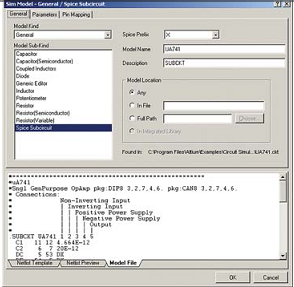 Рис. 9. Описание модели операционного усилителя в Protel DXP