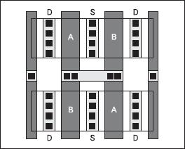 Пример топологии пары согласованных транзисторов с использованием перекрестных связей