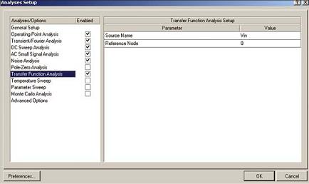 Рис. 13. Настройка анализа передаточных функций по постоянному току в Protel DXP