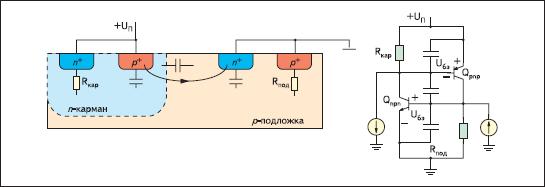 Паразитные емкостные элементы, способствующие возникновению тиристорной защелки при начале подачи напряжения питания или его нестабильности