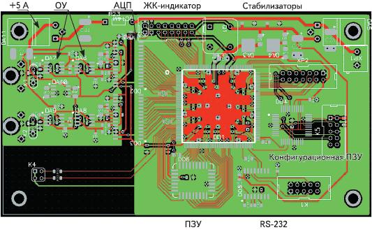 Рис. 4. Печатная плата цифрового устройства на базе FPGA Spartan-IIE