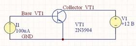 Рис. 2. Схема для расчета выходных характеристик биполярного транзистора