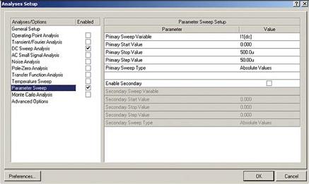Рис. 6. Настройка параметрического анализа для изменения тока базы в Protel DXP