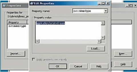 Вызов диалогового окна SVN-свойств файла