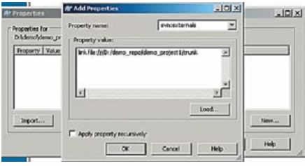 Диалоговое окно установки SVN-свойства файла svn:externals