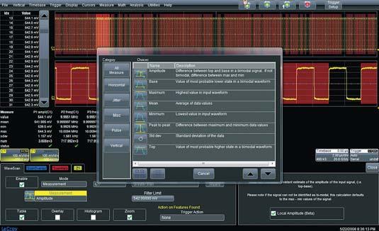 Рис. 7. Режим интеллектуального поиска участков сигнала по заданным условиям WaveScan