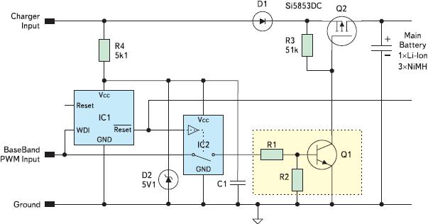 Рис. 2. Защита при помощи сторожевого таймера, добавленная во входные цепи зарядного устройства