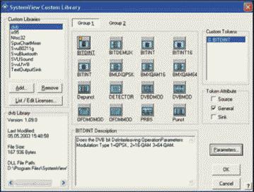 Рис. 2. Диалоговое окно библиотеки DVB (Группа 1)