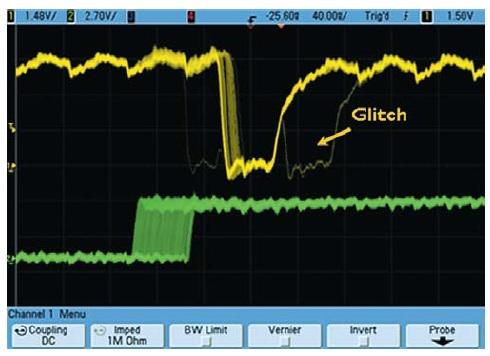 Захват редко появляющегося глитча осциллографом Agilent серии InfiniiVision MSO7000B с использованием дискретизации сигнала в реальном масштабе времени