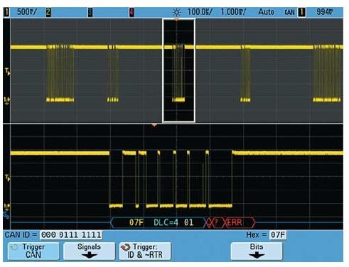 Пример обнаружения редко появляющегося ошибочного блока данных  в пакете последовательных данных с помощью осциллографа Agilent серии 7000B, обладающего высокой скоростью обновления сигналов на экране