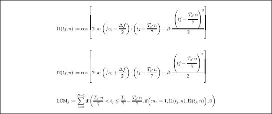 Фрагмент программного кода модели семиэлементного сигнала с внутриимпульсным ЛЧМ-заполнением