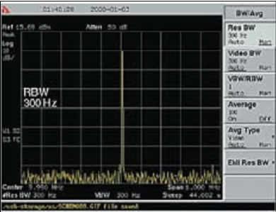 Спектр сигнала от опорного генератора при выборе RBW = VBW = 300 Гц
