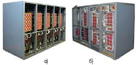 Рис. 2. Виды преобразователя М-ПП-200М со стороны высоковольтных (а) и низковольтных (б) блоков