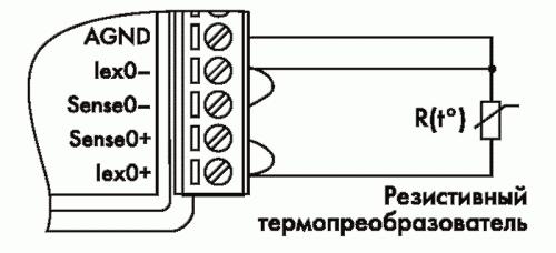Рис. 18. Трехпроводное подключение резистивного термопреобразователя