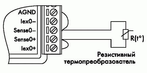 Рис. 17. Двухпроводное подключение резистивного термопреобразователя