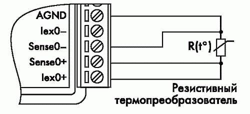 Рис. 19. Четырехпроводное подключение резистивного термопреобразователя