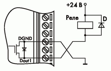 Рис. 22. Применение модуля для управления электромагнитным реле