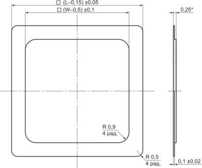 Чертеж ступенчатой крышки металлокерамического корпуса