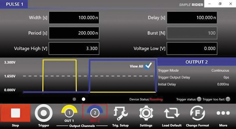 Меню настройки генератора АКИП‐3309 для записи‐стирания массива ячеек: параметры импульса 100 нс при 3,3 В