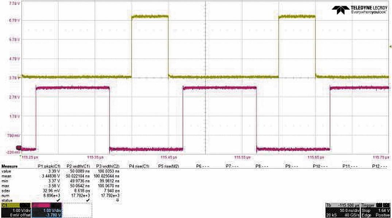 В данном примере импульсный генератор формирует импульсы 50 нс при 3,3 В для записи/стирания одной ячейки (канал 1). В канале 2 формируются импульсы 100 нс при 3,3 В для записи/стирания массива ячеек