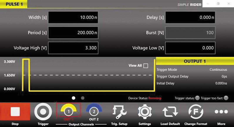 Меню настройки на генераторе АКИП‐3309 параметров короткого импульса 10 нс при 3,3 В (импульс стирания)