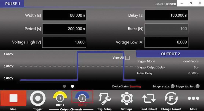 Меню настройки на генераторе АКИП‐3309 параметров длинного импульса 80 нс при 1,6 В (импульс установки)