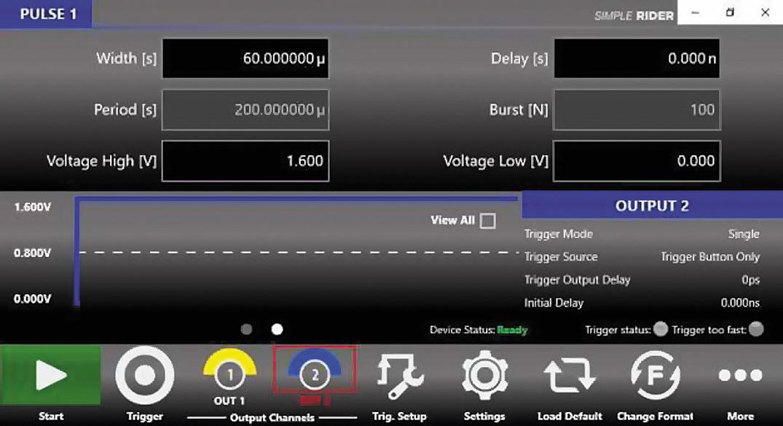 Меню настройки генератора АКИП‐3309 в режиме «длинный импульс»: смещение 0 В, амплитуда 1,6 В, ширина 60 мкс, однократный запуск