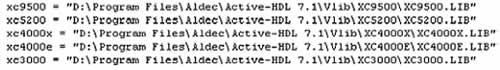 Содержимое файла конфигурации libary.cfg, находящегося в папке Vlib (фрагмент). Файл содержит список глобальных библиотек системы, загружаемый в окно менеджера библиотек Library Manager