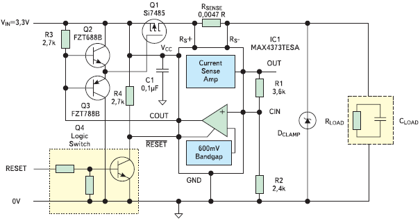 Рис. 1. Интегрированные токочувствительный усилитель, компаратор с фиксированным состоянием и источник опорного напряжения образуют быстродействующую низковольтную схему защиты от перегрузки по току