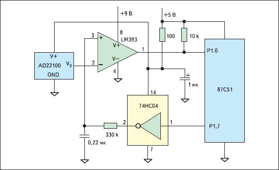Схема датчика температуры с пропорциональным выходным сигналом